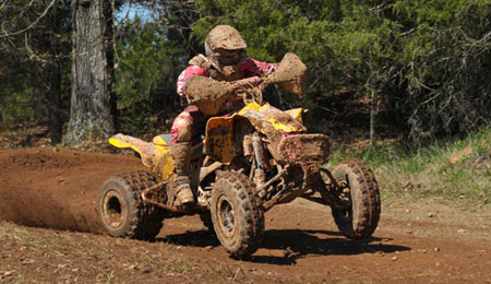 Lexie Coulter rides to an impressive second-place finish in the morning race at the Big Buck GNCC.