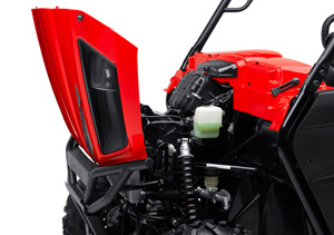 2012 kawasaki teryx4 750 4x4 an easy-open front hood gives you access to  the front suspension, air filter, coolant reservoir, and electrical  equipment