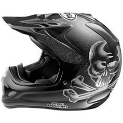 "VX-Pro3 Hayes ""Jolly Roger"" ($659.95): Complex Laminate Construction/fiberglass composite shell; Hypershark peak forces air into forehead vents; removable/washable liner. SNELL, DOT approved."