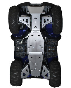 Yamaha Grizzly 700 decked out in Pro Armor skid plates and A-arm guards.
