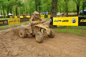A mud-caked Chris Borich was victorious at the Loretta Lynn GNCC.