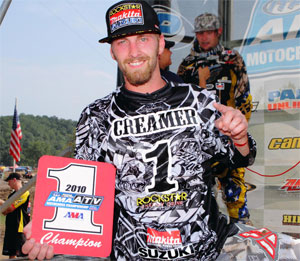 Josh Creamer shows off the No. 1 plate after locking up the ATV MX championship.