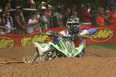 Despite a crash in the second moto, Creamer finished an impressive third in the season finale.