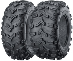 Quadmax tires are designed for utility ATVs. They feature an aggressive tread pattern designed to provide superior performance in tough conditions. A flatter profile offers a larger footprint for more traction, while the tire carcass incorporates two nylon plies. Prices start from about $67.