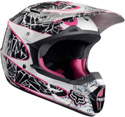 Youth Girls V1 Print ($109.95): Injection molded polycarbonate shell; vent channels in the shell suck out moisture and heat; integrated roost shield. DOT approved.