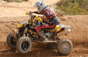 Josh Frederick rides his Can-Am DS 450 to victory.