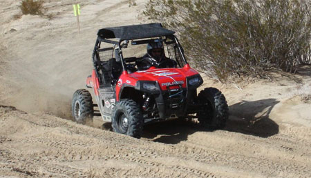Mitch Guthrie pilots his No. 555 Ranger RZR to victory.