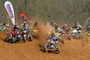 Josh Upperman grabs the holeshot. (Photo by Stephani McIntyre - www.atvmotocross.com)