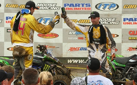 Wienen and Creamer celebrate Kawasaki's 1-2 finish.