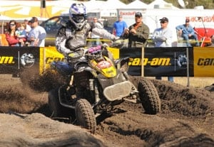 Adam McGill finished on the podium in his first GNCC race with Can-Am.