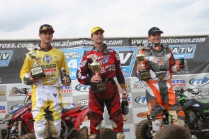Wimmer, Byrd and Wienen celebrate on the podium. (Photo by Jorge Cuartas)