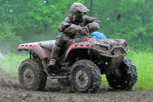 Daryl Rath battles the mud on his way to a third-place finish.