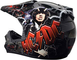 AC/DC ($249.99): Advanced composite shell with exclusive AC/DC graphics; removable/washable liner. SNELL, DOT approved.