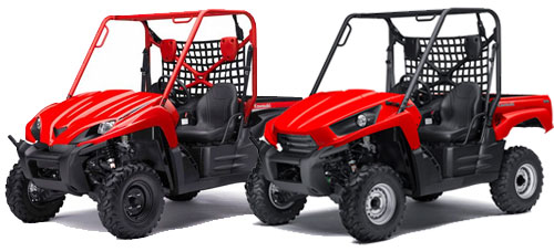 You can see the more rounded hood and red roll cage on the 2009 model on the left, while the 2010 Teryx on the right has a more angular look.