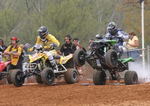 Chad Wienen pulls an inadvertent wheelie off the start.