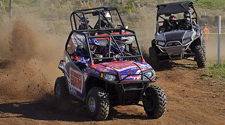 William Yokley pilots his Polaris Ranger RZR to victory.