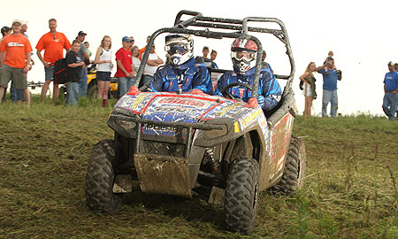 Yokley and Notman in their Army National Guard Ranger RZR.